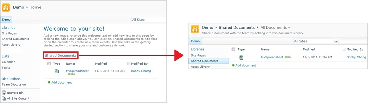 Shared Documents Library and Web Part